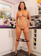 Fatty mommy making coffee and stripping naked
