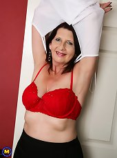 Study in purple with hot mature brunette woman