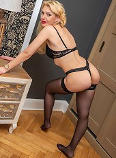Stunning MILF Milena naked in only her black stockings