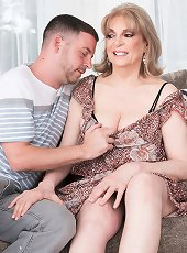 Peachy brunette milf on high heels in solo action